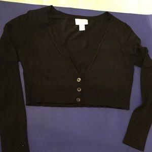 LOFT Sweaters - Ann Taylor loft cropped black sweater s cotton